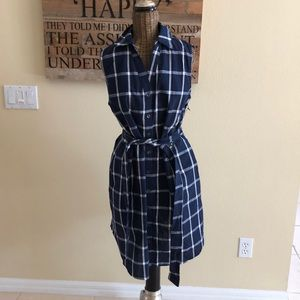 NWT Doe & Rae Blue Plaid Linen Blend Dress S